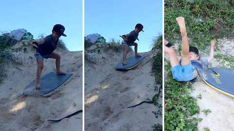 Five-year-old stunned by snake slithering across his path when surfing down sand dune causing him to fall off