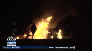 Truck catches fire on I-25 at Belleview in Denver Tech Center - Video