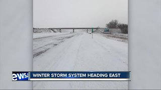 Winter storm system moves east