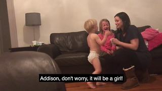 Girl Has The Funniest Reaction To Sibling Gender Reveal