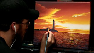 Acrylic Seascape Painting of a Lighthouse and Orange Sunset - Time-lapse - Artist Timothy Stanford