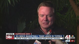 Bill Self addresses media following initial flight with engine trouble