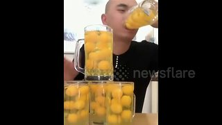 This Chinese Man Can Drink 50 Raw Eggs In 15 Seconds - Video