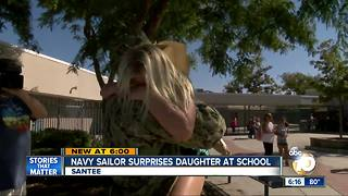 Navy sailor surprises daughter after deployement - Video