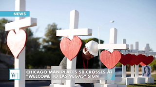 "Chicago Man Places 58 Crosses At ""Welcome to Las Vegas"" Sign - Video"