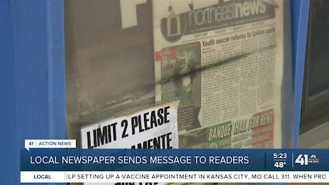 Local newspaper sends message to readers