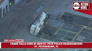 Large crane falls on its side at construction site for new St. Pete police headquarters
