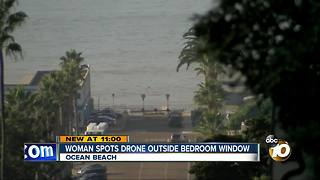 Woman spots drone outside bedroom window - Video