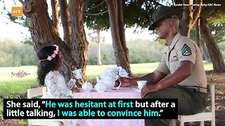 Military dad shows softer side, has tea party with daughter | Hot Topics - Video