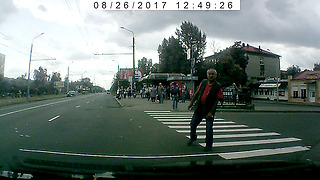 Sleepy but polite pedestrian  - Video