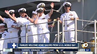 USS Mobile Bay families welcome home sailors