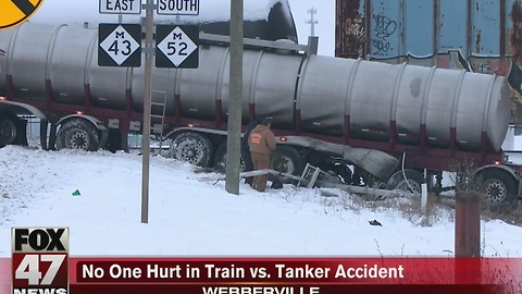 Tanker truck collides with train