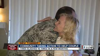 Las Vegas community takes action to help couple terrorized by tire slasher - Video