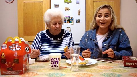 Adorable moment Irish grandma tries fast food for the first time in her life