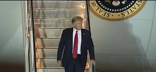 President Donald Trump arrives in Las Vegas