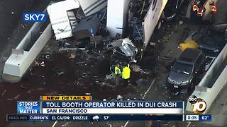 Toll booth operator killed after DUI crash - Video