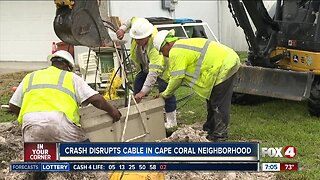 Cleaning up after car slams into Cape Coral home