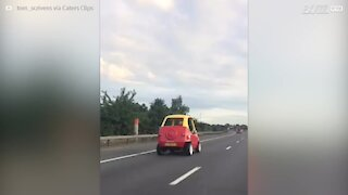 Toy car spotted on the highway