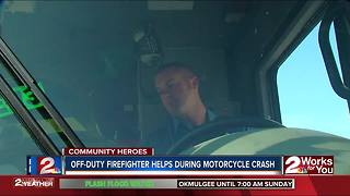 Off-duty firefighter helps during motorcycle crash