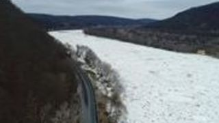 Ice Jams Crowd Susquehanna River Near West Pittston - Video