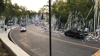 Cathedral High School seniors TP school for first day of the year - Video