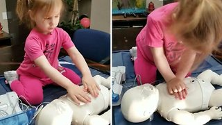 Staying aww-live: Adorable two-year-old learns how to do CPR