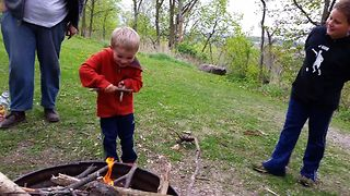Cute Kid Makes Magic Fire - Video