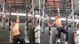 Watch: Epic video shows fitness freak doing one-handed ladder jumps