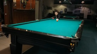 Killer Billiard Trick Shot by Polina, She was 14 years old, Insane skill  - Video