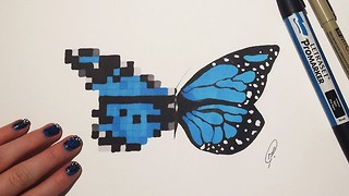 Butterfly fantasy speed drawing: Pixel and realistic - Video