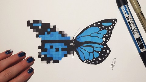 Butterfly fantasy speed drawing: Pixel and realistic