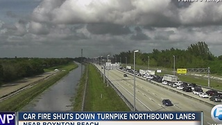 Car fire shuts down Turnpike northbound lanes - Video