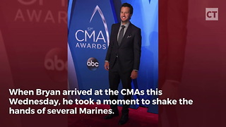 Luke Bryan Shakes Marines' Hands - Video