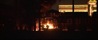 Fire at an electrical substation