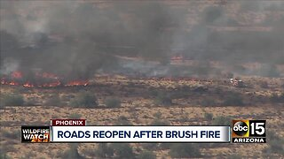 Roads closed due to fire burning in North Phoenix