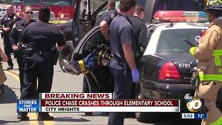 Police chase crashes through elementary school - Video