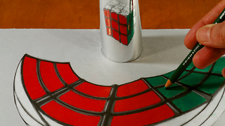 Drawing a Rubik's cube anamorphic illusion - Video