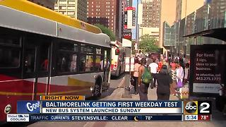 BaltimoreLink bus system gets first weekday test Monday - Video