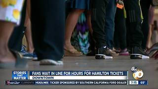 San Diego fans wait in line for hours for Hamilton tickets - Video