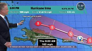 Category 5 Hurricane Irma's winds now at 185 mph
