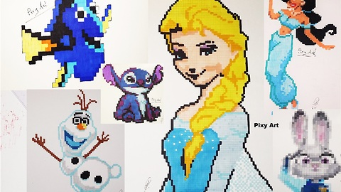 Incredible pixel drawing compilation of Disney characters
