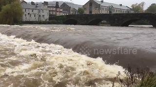 Cumbria river near bursting point after heavy rain - Video