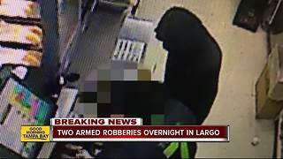 Officials investigating two armed robberies overnight at 7-Elevens in Largo