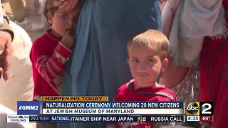Jewish Musum of Maryland hositng Naturalization Ceremony for 20 new citizens - Video