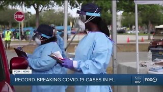 Record breaking COVID-19 cases continue to rise in Florida.