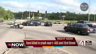 Teen killed in crash near I-435 and 23rd Street - Video