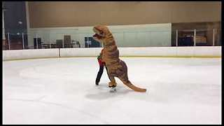Dino-mite Duo Show Off Skating Skills - Video
