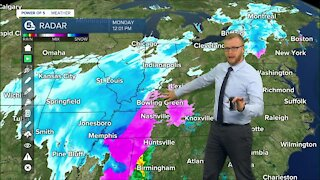 Power of 5 Weather is tracking the winter storm Monday afternoon