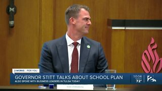Gov. Stitt talks about school plan