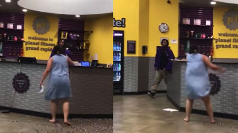 Woman Destroys Customer Service Desk At Planet Fitness